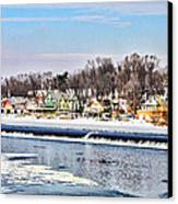 Winter At Boathouse Row In Philadelphia Canvas Print by Simon Wolter