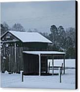 Winter Barn Canvas Print by Nelson Watkins