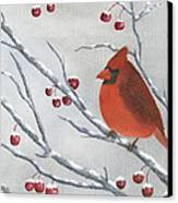 Winter Cardinal Canvas Print by Peter Miles