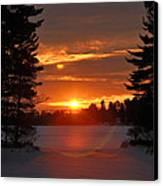 Winter Lake Sunset Canvas Print by RJ Martens
