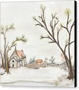 Winter Landscape With Cottage II Canvas Print by Christine Corretti