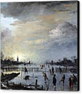 Winter Landscape With Skaters Canvas Print by Gianfranco Weiss