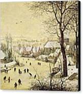 Winter Landscape With Skaters And A Bird Trap Canvas Print by Pieter Bruegel the Elder