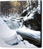 Winter Meltdown Rushing Over Conestoga Falls Canvas Print by Gene Walls