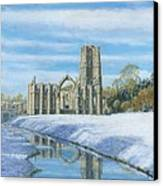 Winter Morning Fountains Abbey Yorkshire Canvas Print by Richard Harpum