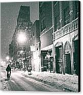 Winter Night - New York City - Lower East Side Canvas Print by Vivienne Gucwa