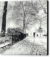 Winter Night - Snow - Madison Square Park - New York City Canvas Print by Vivienne Gucwa