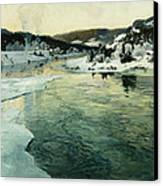 Winter On The Mesna River Near Lillehammer Canvas Print by Fritz Thaulow