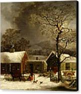 Winter Scene In New Haven Connecticut 1858 By Durrie Canvas Print by Movie Poster Prints