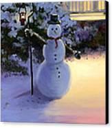 Winter Snow Man Canvas Print by Cecilia Brendel