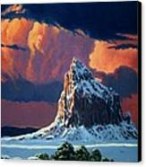 Winter Sunset Over Shiprock Canvas Print