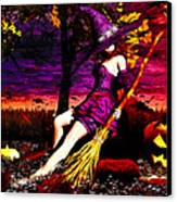 Witch In The Punkin Patch Canvas Print by Bob Orsillo