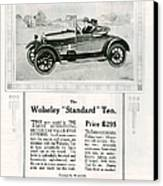 Wolseley 1923 1920s Usa Cc Cars Canvas Print