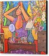 Woman At Dressing Table Canvas Print by Chaline Ouellet