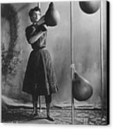 Woman Boxing Workout Canvas Print by Underwood Archives