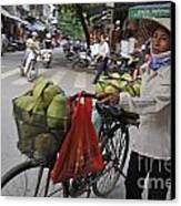 Woman Carrying Fruit On Bike Canvas Print by Sami Sarkis