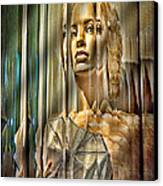 Woman In Glass Canvas Print