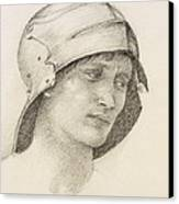 Woman In Hat, Detail From A Sketchbook Canvas Print by Sir Edward Coley Burne-Jones