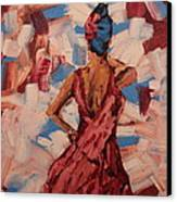 Woman In The Red Gown Canvas Print by Lee Ann Newsom