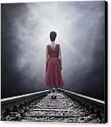 Woman On Tracks Canvas Print