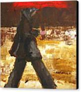 Woman Under A Red Umbrella Canvas Print by Patricia Awapara