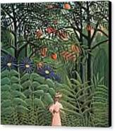 Woman Walking In An Exotic Forest Canvas Print