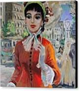 Woman With Parasol In Paris Canvas Print by Karon Melillo DeVega