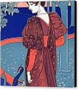 Woman With Peacocks Canvas Print by Louis John Rhead