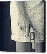 Woman With Revolver 60 X 45 Custom Canvas Print
