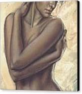 Woman With White Drape Crop Canvas Print by Zorina Baldescu