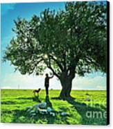 women and dog and Beautiful Greens Canvas Print by Boon Mee
