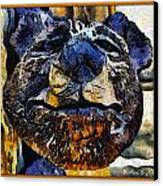 Wooden Bear Sculpture Canvas Print by Barbara Snyder