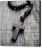 Wooden Rosary Canvas Print by Aged Pixel