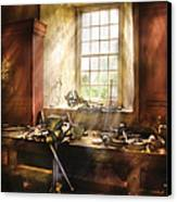 Woodworker - Many Old Tools Canvas Print by Mike Savad