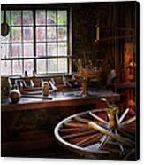 Woodworker - The Wheelwright Shop  Canvas Print by Mike Savad