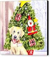 Woof Merry Christmas Canvas Print by Irina Sztukowski
