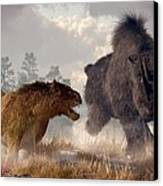 Woolly Rhino And Cave Lion Canvas Print