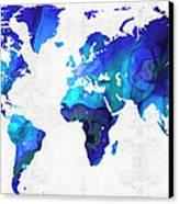 World Map 17 - Blue Art By Sharon Cummings Canvas Print by Sharon Cummings