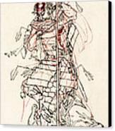 Wounded Samurai Drinking Sake C. 1870 Canvas Print by Daniel Hagerman