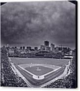 Wrigley Field Night Game Chicago Bw Canvas Print