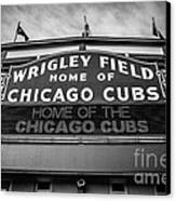Wrigley Field Sign In Black And White Canvas Print by Paul Velgos