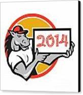 Year Of Horse 2014 Showing Sign Cartoon Canvas Print by Aloysius Patrimonio
