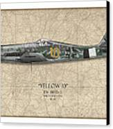 Yellow 10 Focke-wulf Fw190d - Map Background Canvas Print by Craig Tinder