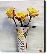 Yellow And Red Tipped Roses Canvas Print by Marsha Heiken