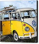 Yellow Bus At The Beach Canvas Print by Ron Regalado