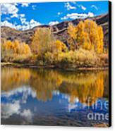 Yellow Fall Reflections Canvas Print by Robert Bales
