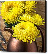 Yellow Mums In Copper Vase Canvas Print