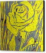 Yellow Rose On Blue Canvas Print by Marita McVeigh