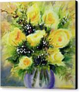 Yellow Roses Canvas Print by Kathy Braud