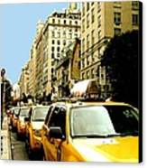 Yellow Taxis Canvas Print by Claudette Bujold-Poirier